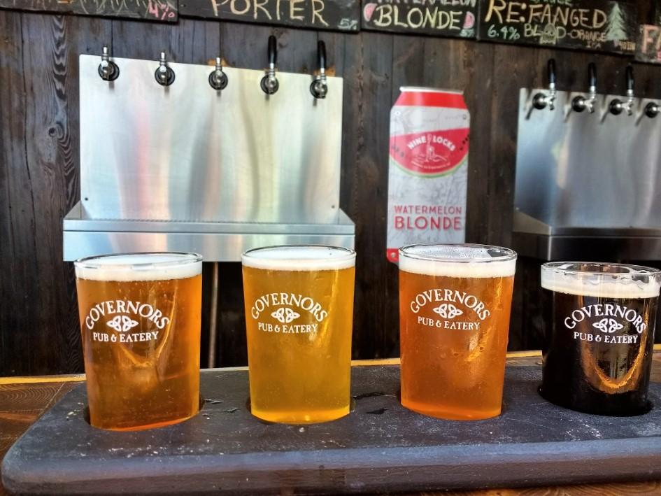 Beer flight at Governor's Pub in Sydney, Nova Scotia