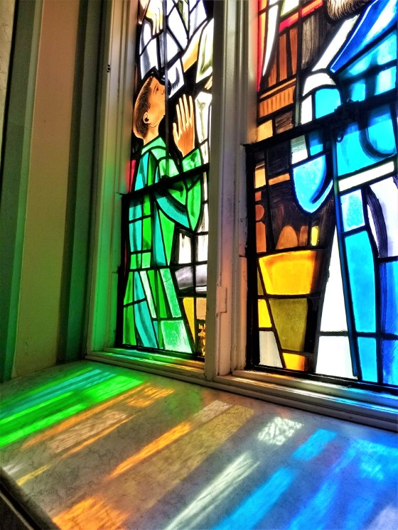 Stained glass window in St. Dunstan's Basilica