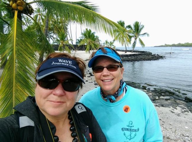 Viv and Jill in Hawaii with Holland America Eurodam
