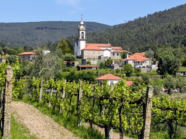 Church in the valley on the Camino Portuguese