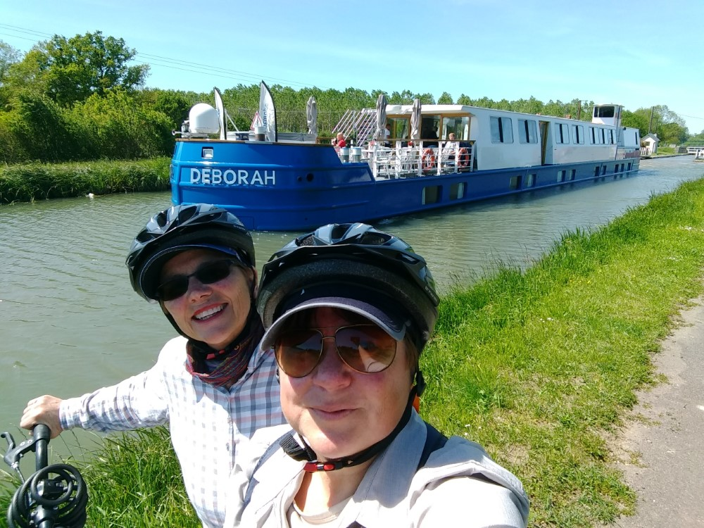 Jill and Viv with Barge Deborah in France